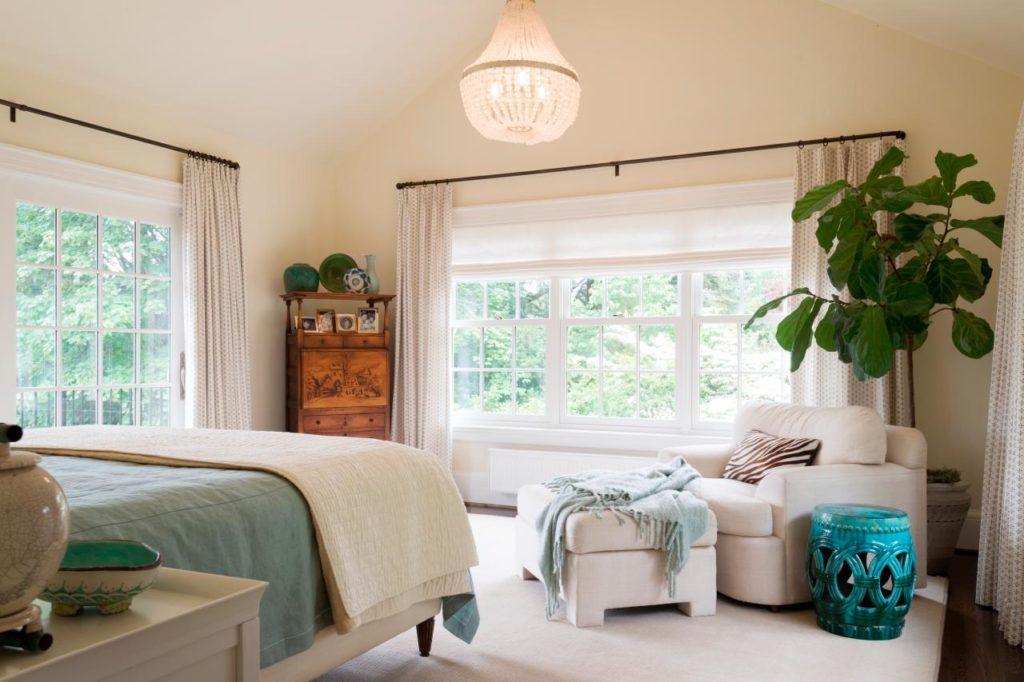 Зеленое растение в углу спальной комнаты