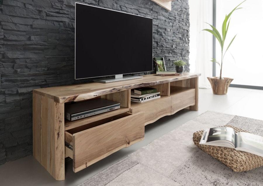 Стильная ТВ-тумба из натурального дерева