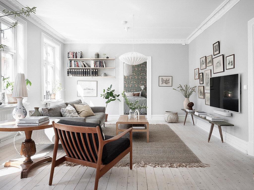 Деревянный пол в гостиной скандинавского стиля