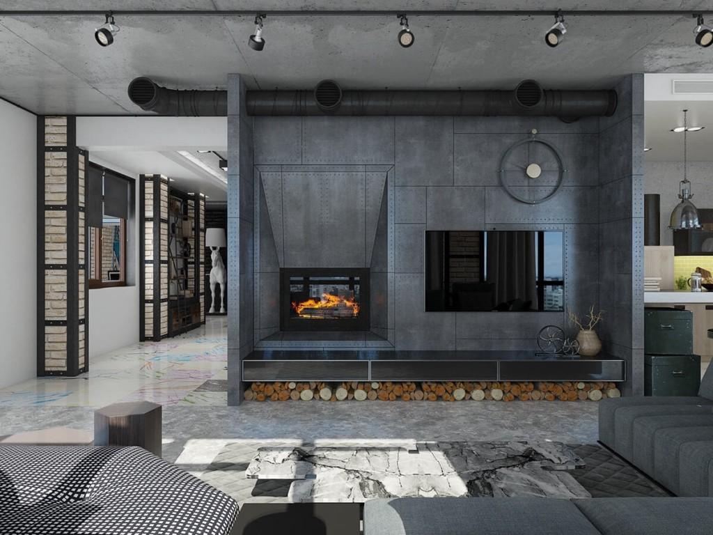Встроенный камин рядом с телевизором в лофтной гостиной