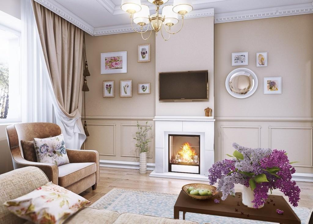Гостиная в стиле прованс с электрическим камином
