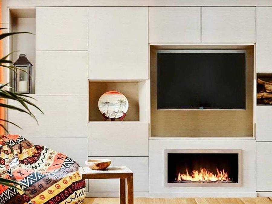 Мебельная стенка со встроенным электрокамином