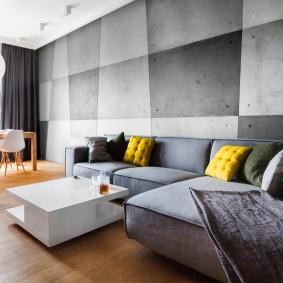 Угловой диван в гостиной стиля лофт
