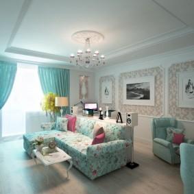 Оформление гостиной комнаты в стиле прованса