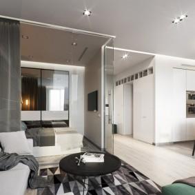 Зонирование стеклянной перегородкой квартиры в европейском стиле