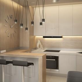 Рабочая зона кухни в квартире студийного типа