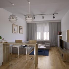 Барная стойка между кухонной и гостиной зонами