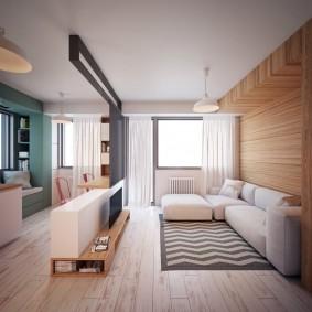 Дизайн кухни-гостиной с деревянной отделкой