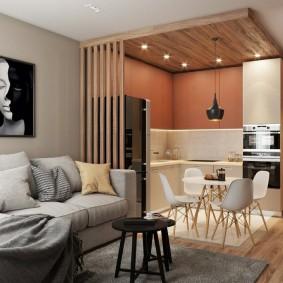 Зонирование квартиры отделкой потолка