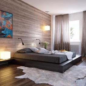 Декор панелями акцентной стены в спальне