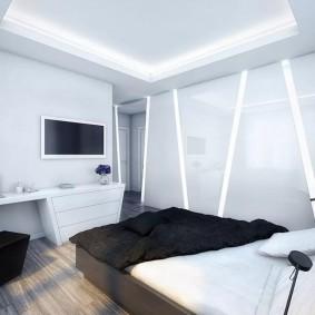 Линейные светильники в стене спальной комнаты