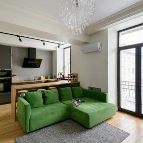 Угловой модульный диван зеленого цвета