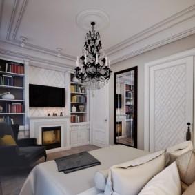 Длинная люстра на потолке в квартире
