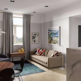Мягкая зона в однокомнатной квартире