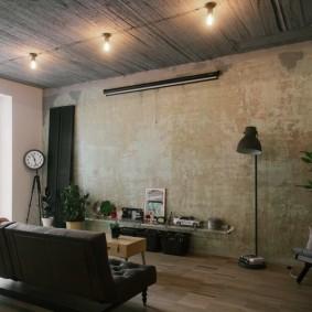 Ретро интерьер гостиной в трехкомнатной квартире