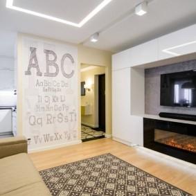 Мебель в гостиную со встроенным электрокамином