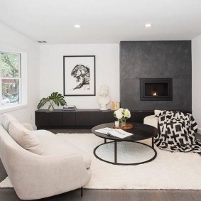 Серо-белый интерьер гостиной комнаты