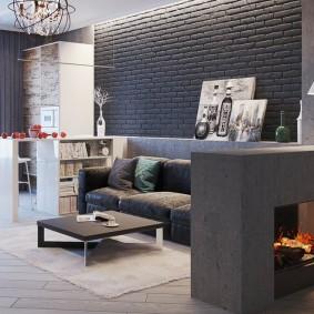 Дизайн гостиной комнаты в стиле лофта