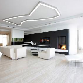 Дизайн гостиной комнаты в черно-белых оттенках
