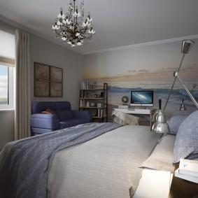 Серое покрывало в спальне современного стиля