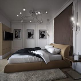 Освещение спальни потолочной люстрой
