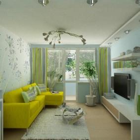 Дизайн гостиной комнаты с балконной дверью