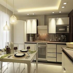 Просторная кухня с угловым гарнитуром