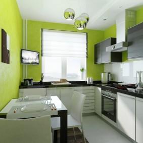 Зеленые обои в интерьере кухни