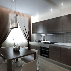 Коричневые фасады кухонного гарнитура