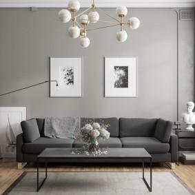 Декор фотографиями стены в зале