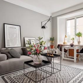 Окраска стен гостиной в светло-серый цвет