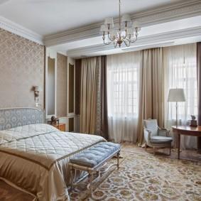 Дизайн спальной комнаты большой площади