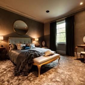 Освещение спальной комнаты в темных тонах