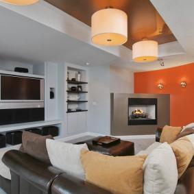 Дизайн гостиной комнаты с двухуровневым потолком