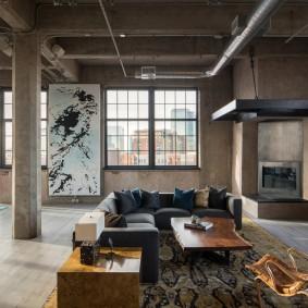 Оформление гостиной в стиле индустриального лофта