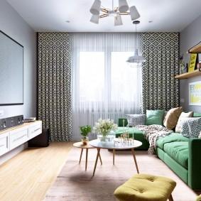 Зеленый диван в интерьере двухкомнатной квартиры