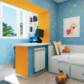 Интерьер детской комнаты с утепленным балконом
