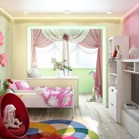 Дизайн детской спальни с присоединенным балконом