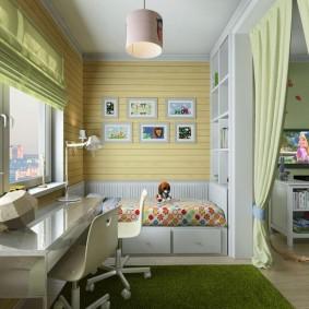 Дизайн детской спальни с рабочим местом на лоджии