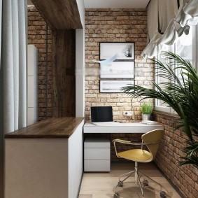 Лофтный интерьер балконного кабинета