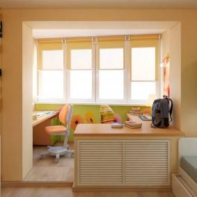 Интерьер детской комнаты после объединения с балконом