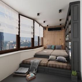 Спальное место в интерьере балкона