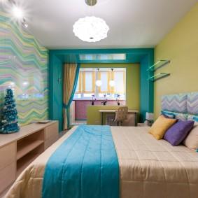 Голубые оттенки в интерьере спальни