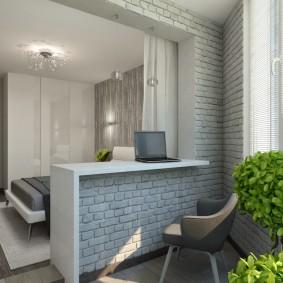 Дизайн балкона с кирпичной отделкой