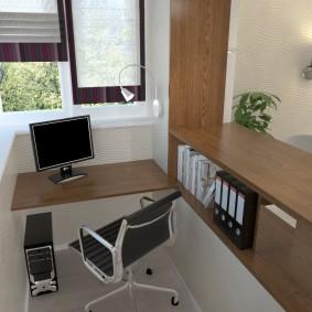 Дизайн балкона с домашним офисом