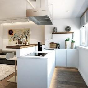 Кухня без навесных шкафов в однокомнатной квартире