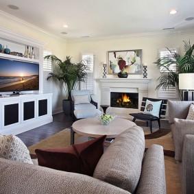 Комфортный интерьер гостиной комнаты
