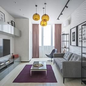 Прямой диван с обивкой серого цвета