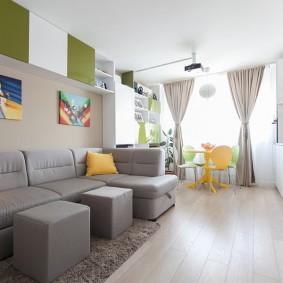 Модульный диван с обивкой из искусственной кожи