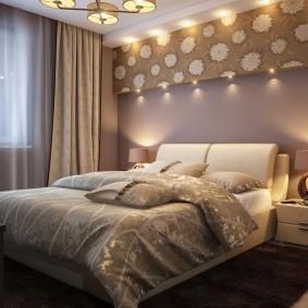 Освещение спальни квадратной формы
